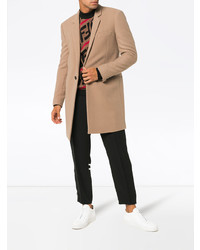 Saint Laurent Single Breasted Virgin Wool Cashmere Blend Overcoat