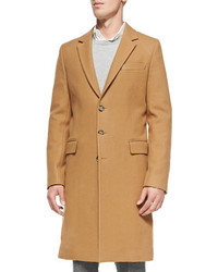 Ami Single Breasted Wool Overcoat Camel