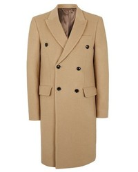 Topman Camel Double Breasted Wool Overcoat