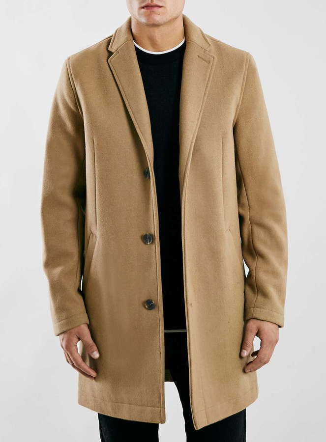 Topman Camel Wool Blend Overcoat | Where to buy & how to wear