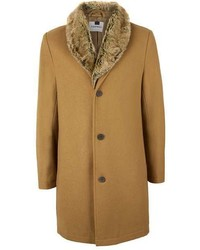 Topman Camel Wool Rich Faux Fur Collar Overcoat