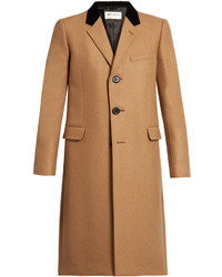 Saint Laurent Velvet Collar Camel Hair Blend Overcoat