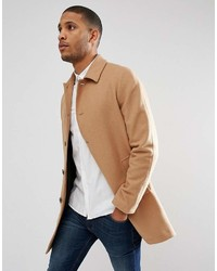 Asos Wool Mix Trench Coat In Camel