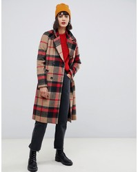 Pieces Double Breasted Check Coat