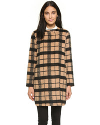 Kellen collarless wool plaid coat medium 370758