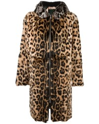 No.21 No21 Leopard Print Hooded Coat