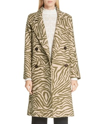 See by Chloe Zebra Print Wool Blend Coat