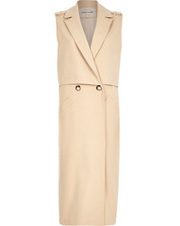 River Island Cream Sleeveless Maxi Trench Coat