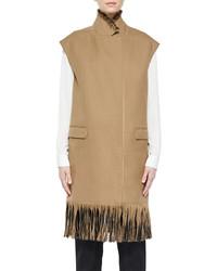 3.1 Phillip Lim Long Wool Vest With Fringe Tan