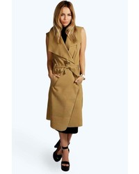 Olivia waterfall belted sleeveless coat medium 5409765