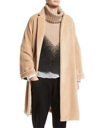 Textured knit alpaca car coat medium 4156922