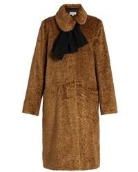 Isa Arfen Asymmetric Collar Embossed Velvet Coat