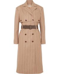 Camel Vertical Striped Coat