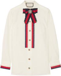 Camisa con adornos blanca de Gucci