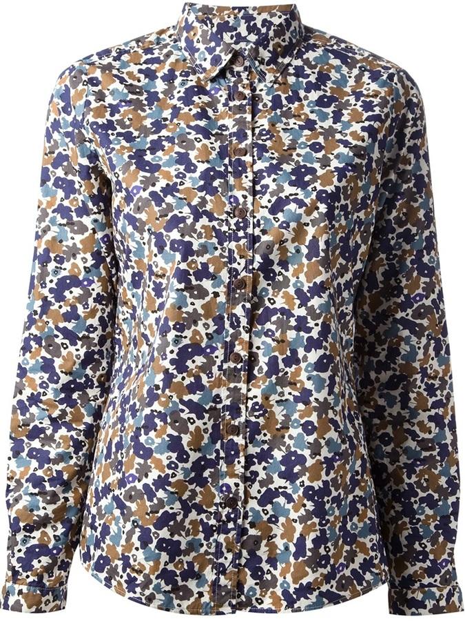 Camisa con print de flores en verde menta de Burberry