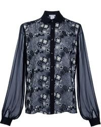 Camisa de encaje con print de flores negra de Oscar de la Renta