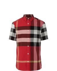 Camisa de manga corta a cuadros burdeos de Burberry