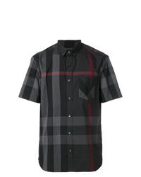 Camisa de manga corta a cuadros en gris oscuro de Burberry