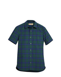 Camisa de Manga Corta a Cuadros en Verde Azulado de Burberry