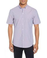 Camisa de manga corta a cuadros violeta claro