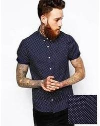 Camisa de manga corta a lunares en azul marino y blanco