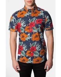 Camisa de manga corta con print de flores azul marino de 7 Diamonds