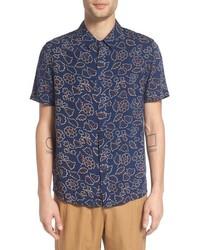 Camisa de manga corta con print de flores azul marino de NATIVE YOUTH