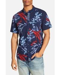 Camisa de manga corta con print de flores azul marino de Quiksilver
