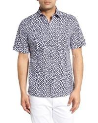 Camisa de manga corta con print de flores azul marino de Toscano