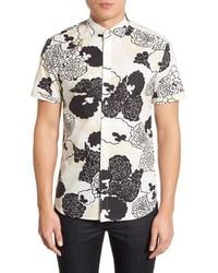 Camisa de manga corta con print de flores blanca