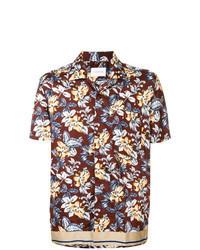 Camisa de manga corta con print de flores burdeos