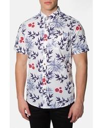 Camisa de manga corta con print de flores celeste de 7 Diamonds