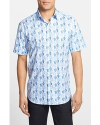 Camisa de manga corta con print de flores celeste de Bugatchi