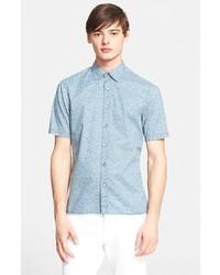 Camisa de manga corta con print de flores celeste de Burberry