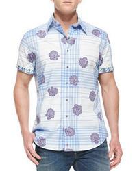 Camisa de manga corta con print de flores celeste de Robert Graham