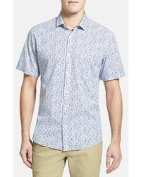 Camisa de manga corta con print de flores celeste de Toscano