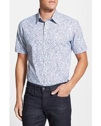 Camisa de manga corta con print de flores celeste de Zachary Prell