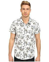 Camisa de manga corta con print de flores en blanco y negro