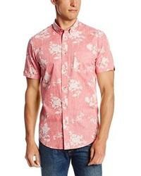 Camisa de manga corta con print de flores rosada