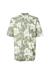 Camisa de manga corta con print de flores verde oliva