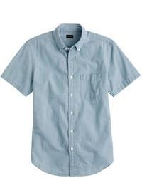Camisa de manga corta de cambray azul
