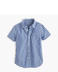 Camisa de manga corta de cuadro vichy azul de J.Crew