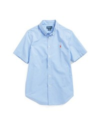 Camisa de manga corta de cuadro vichy celeste de Ralph Lauren