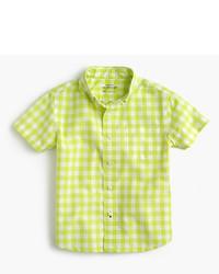 Camisa de manga corta de cuadro vichy en amarillo verdoso de J.Crew