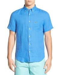 Camisa de manga corta de lino celeste