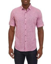 Camisa de manga corta de lino roja