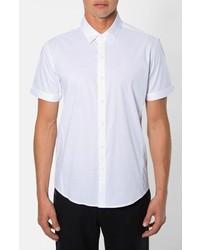 Camisa de manga corta de rayas verticales blanca de 7 Diamonds