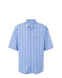 Camisa de manga corta de rayas verticales celeste de AMI Alexandre Mattiussi