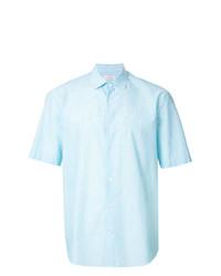 Camisa de manga corta de rayas verticales celeste de Cerruti 1881