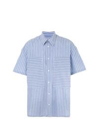 Camisa de manga corta de rayas verticales celeste de E. Tautz